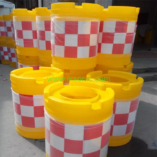 Rotational moulding road safety crash barrier