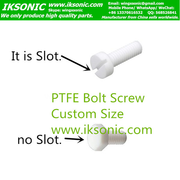groove PTFE Bolt screw slotted head manufacturer